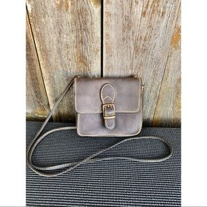VINTAGE genuine leather brown crossbody purse